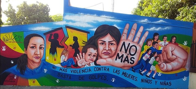 No more violence against women & children:mural iin BLINC's twin town of Puerto Morazan